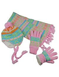 N'Ice Caps Big Girls Sherpa Lined Knitted 3 PC Set with Designs (9-12 Years, Coral/Pink/Multi)