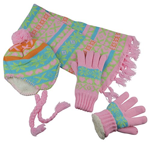 Sherpa Lined Printed Hat/Scarf/Glove Knitted Accessory Set (Coral/Multi, Teens / 13-15yrs) ()