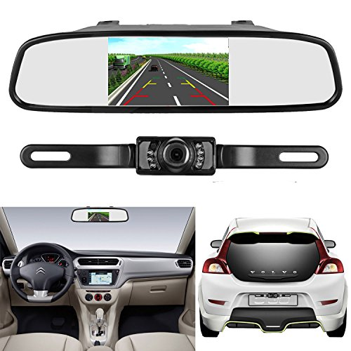 iStrong Backup Camera and Mirror Monitor Kit Reverse Camera Waterproof Universal 7 LED Night Vision only need Single Power Rear view or Fulltime View Optional for Car Vehicle Van Caravan