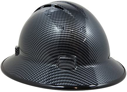 HardHatGear Custom Hydro Dipped VENTED Full Brim Hard Hat in CARBON FIBER  DESIGN (Not Real Carbon Fiber) in Black/Silver- Made in USA by ERB
