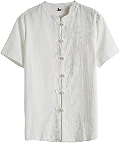 VJGOAL Manga Corta Cuello Henry Camisetas con Botones Verano Casual Color sólido Retro Estilo Chino Traje Tang Tops Camisas para Hombres: Amazon.es: Ropa y accesorios