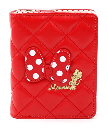 Disney Minnie Mouse Dot Ribbon Wallet Card Coin Holder Organizer for Girl Women (Red)