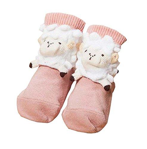 暖かいかわいい羊のベビーフロアソックス室内ピンクの靴下ペア
