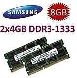 Samsung kit de la memoria ram de 8GB (2 x 4GB) DDR3 PC3 10600, 1333Mhz, 204 PIN, SODIMM para portátiles (pn M471B5273DH0-CH9 x 2)