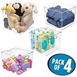 mDesign Plastic Storage Organizer, Holder Bin Box with Handles - for Cube Furniture Shelving Organization for Closet, Kid's Bedroom, Bathroom, Home Office - 10'' x 10'' x 8'' high - 4 Pack, Clear