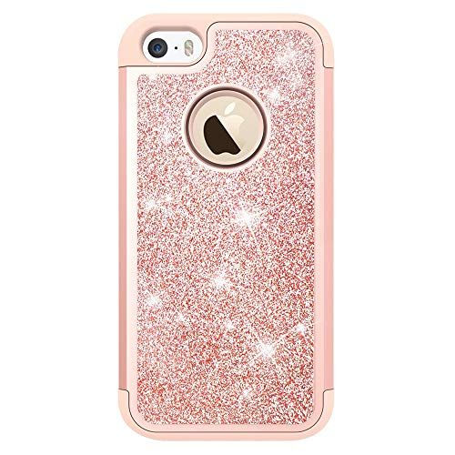 (iPhone 5S Case,iPhone 5 /iPhone SE Case with Tempered Glass Screen Protector [2 Pack],LeYi Glitter Bling Girls Women Heavy Duty Protective Case for iPhone 5S/5/SE TP Rose Gold)
