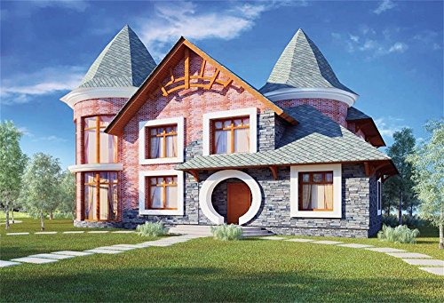 LFEEY 5x3ft Beautiful Countryside Villa Photo Backdrop Meadow Modern Architecture Photo Booth Props Wallpaper Dream Luxury Suburban House Background for (3 Suburban Houses)
