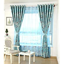 ZWB Home Decor Window Treatment Mediterranean Style Pespective Vessel and Rudder Pattern Sheer Curtains for Children Kids Bed Room Sliding Glass Door Rod Pocket Process 1 Panel W39 x L63 Inch