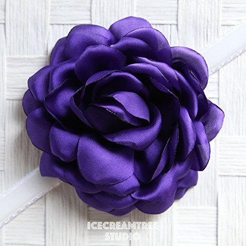 Satin Bloom Collar Slide On, Flower Collar Accessories, Corsage Accessories, Collar Add On - Purple