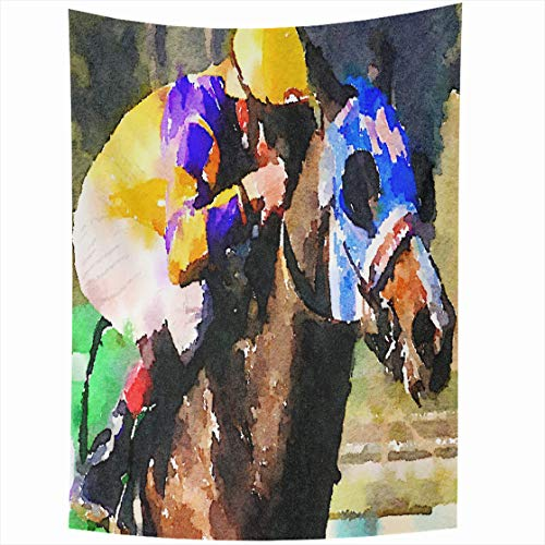 (Ahawoso Tapestry Wall Hanging 50x60 Outdoors Blue Thoroughbred Watercolor Painting Race Horse Jockey Abstract Brown Bet Closeup Home Decor Tapestries Decorative Bedroom Living Room Dorm)