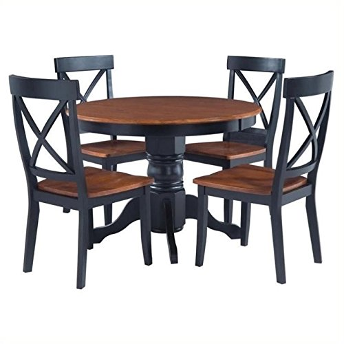Bowery Hill 5 Piece Round Dining Set in Black and Cottage Oak