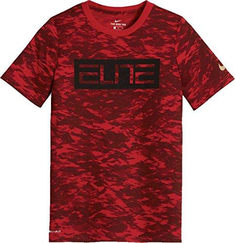Nike Boys' Dri-FIT Elite Camo Printed T-Shirt (Universityred/Darkteamred, - Tshirts Elite