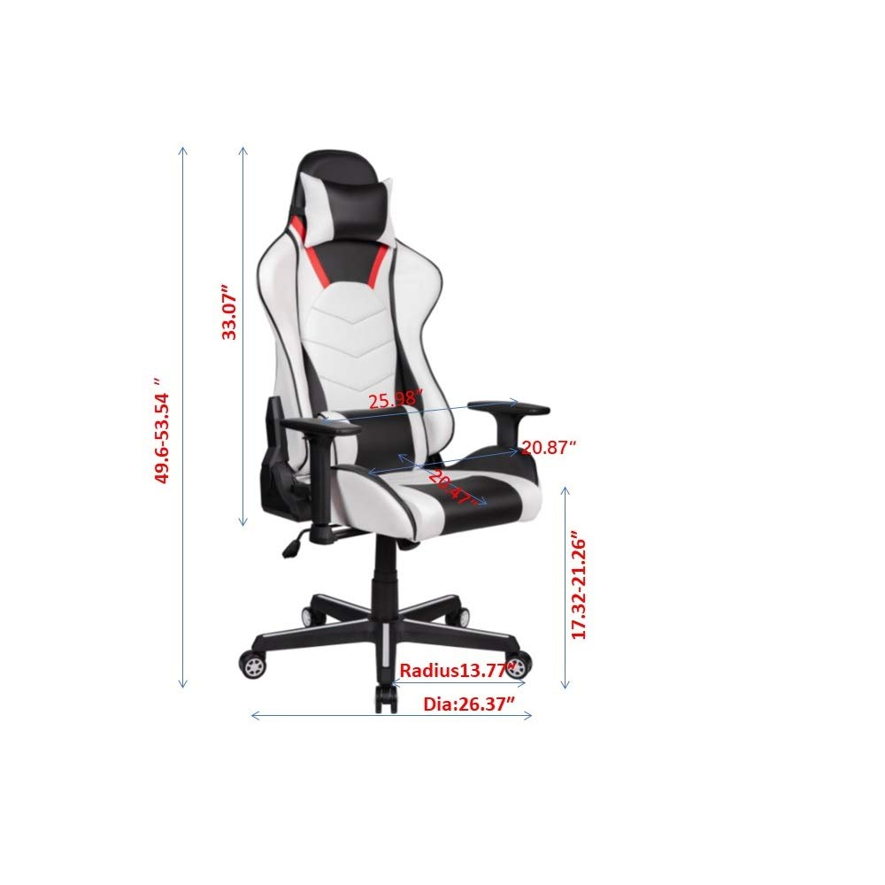 White Executive Office Chair Desk Ergonomic Design Computer Chair 5-Level Height Adjustment with Soft Padded Surface
