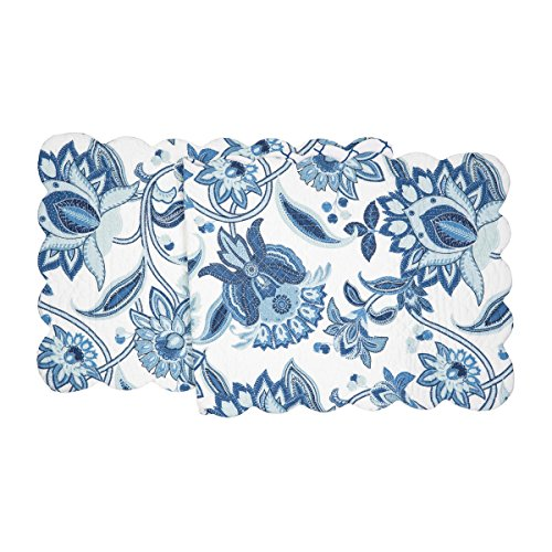 C&F Home Julianna Cotton Quilted Reversible Table Runner 14x51 Table Runner Blue