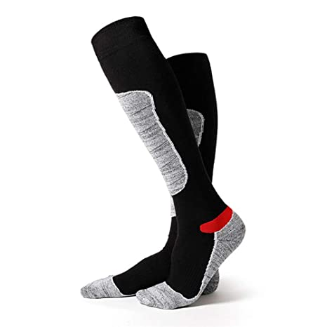 1 par de calcetines de esquí térmicos de alto rendimiento para hombre, manguera larga,