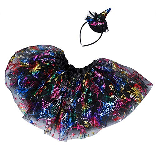 MOKO-PP Baby Girls Kids Halloween Tutu Ballet Skirts Fancy Party Skirt+Headband Outfit S(G) -