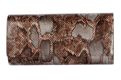 Naturel coloré faux peau de serpent oblongue sac à main pochette par Olga Berg