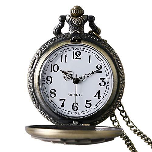 (Avaner Antique Steampunk Engraved Royal Flush Poker Quartz Pocket Watch with 31 inch Chain)