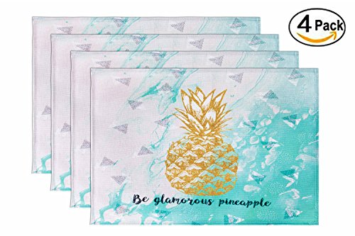 HONEYJOY 4 Pcs Washable Cotton Linen Placemats Textile Rectangle Heat-resistant Non-slip Non-fading Decorative Dining Table Mats Set for Home Kitchen Office Pineapple Pattern Green (13'' x 17'') by HONEYJOY (Image #7)