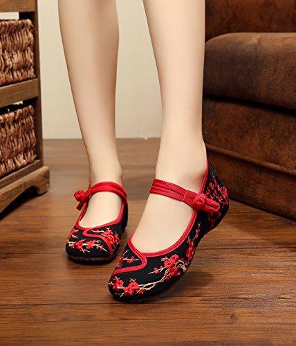 ZQ Gestickte Schuhe, Leinen, Sehnensohle, ethnischer Stil, weibliche Schuhe, Mode, bequem , red , 36