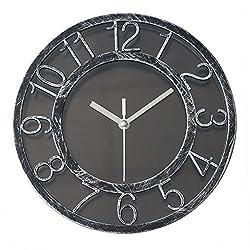 8 Vintage Silent Wall Clock Non-ticking Quartz Wall Clock Darkling Silver Quiet Sweep Digital Clock With Plastic Bezel