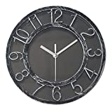 8″ Vintage Silent Wall Clock Non-ticking Quartz Wall Clock Darkling Silver Quiet Sweep Digital Clock With Plastic Bezel For Sale
