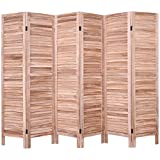 Giantex 6 Panel Screen Room Divider Wood Folding Oriental Freestanding Tall Partition Privacy Screen Room Divider (Brown)