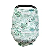 Baby car seat cover, nursing cover breastfeeding cover carseat canopy, Multi Use nursing cover, Stretchy car seat cover, Shopping Cart, Stroller, Carseat Covers for Girls and Boys, Tropical Leaves