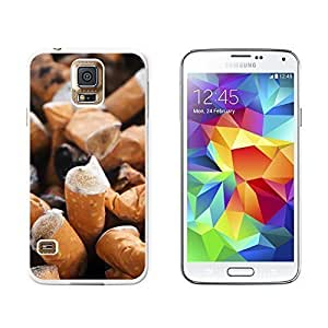 New Style Cigarette Butts Ashtray - Addiction Quit Smoking - Snap On Hard Protective Case for Samsung Galaxy S5 - White