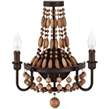 Park Harbor PHWL3152 Casa Maya 13'' Wide 2 Light Wall Sconce with Wood Bead Accen, Bronze Gold