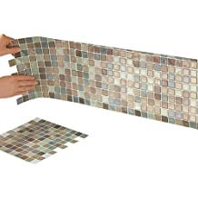 "Collections Etc Mosaic Peel & Stick 10"" x 10"" Backsplash, Kitchen, Bathroom, DIY Wall Tiles - Set Of 6, Brown Multi"