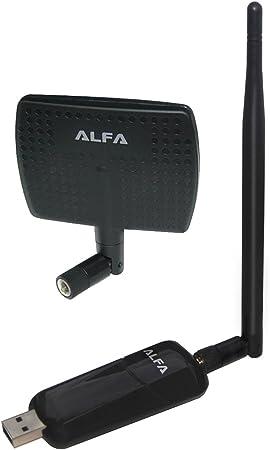 Alfa AWUS036NEH 1000mW 1W 802.11g/n de alta ganancia USB inalámbrico G/N de largo alcance adaptador de red WiFi con antena de panel original 5dBi y ...