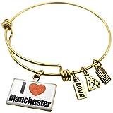 manchester united bracelet - Expandable Wire Bangle Bracelet I Love Manchester region: New Hampshire, United