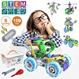 Pakoo STEM Toys Kit 5 in 1 Motorized Educational Construction Engineering Building Blocks Toys Set for 6 7 8 9 10+ Year Old Boys & Girls | Best Toy Gift for Kids