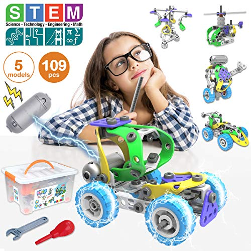 Pakoo STEM Toys Kit 5 in 1 Motorized Educational Construction Engineering Building Blocks Toys Set for 6 7 8 9 10+ Year Old Boys & Girls | Best Birthday Christmas Toy Gift for Kids