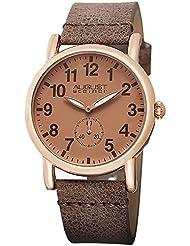 August Steiner Womens AS8110RG Swiss Quartz Rose-tone Brown Leather Strap Watch