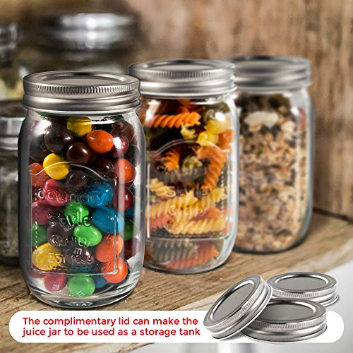 Mastertop 6 Pcs 16.9 Ounce Mason Drinking Jars with Lids  Recycled Glass Bottles and Drinking Straws with 3 Extra Sealing Lid by Mastertop (Image #4)