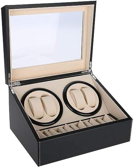 Caja de Relojes, Caja de Enrollador de Relojes de Rotación Automática, Estuche de Almacenamiento para Relojes de Organizadora y Exhibición, 4 + 6 Grids(Negro): Amazon.es: Belleza