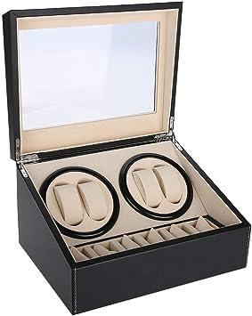 bo/îtier de rangement pour horloge de rangement et montre 4 Noir 6 Grids Bo/îtier denroulement de montre /à rotation automatique PU cuir Motif et doublure en velours doux Int/érieur anti-rayures