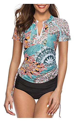 0bbdafb001cd5 Caracilia Women's UV Sun Protection Short Sleeve Rash Guard Wetsuit Swimsuit  Top F48-L ZWY02