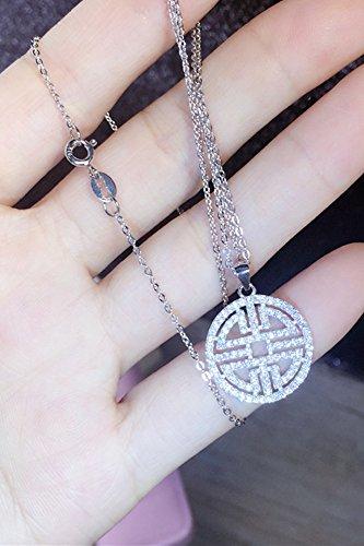 s925 Silver Retro Fashion Micro Pave hi Word Medallion Necklace Pendant Women Girls Hollow Circular Clavicle Chain Zircon