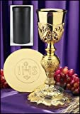 Stratford Chapel Gold Tone Coronation Chalice with IHS Paten and Case Set, 10 1/2 Inch
