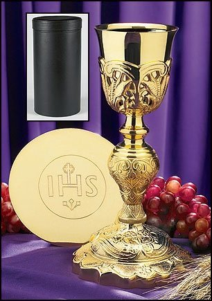 Stratford Chapel Gold Tone Coronation Chalice with IHS Paten and Case Set, 10 1/2 Inch by Stratford Chapel