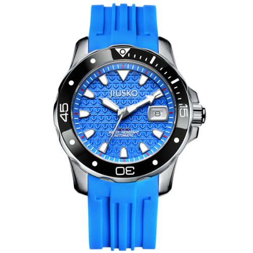 Jiusko Mens 300m Deep Sea Scuba Dive Watch - 24 Jewel Automatic Movement - Sapphire - Date - Blue Dial - Rubber Strap - 70LSB1313