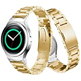 Voberry Stainless Steel Watche Band + Connector For Samsung Gear S2 RM-720 (Gold)