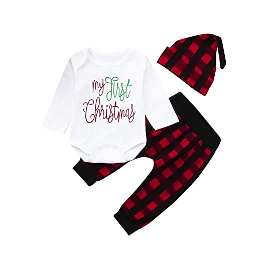 aadfee88cc2b Infant Baby Girls Boys Christmas Outfits Clothes 0-2 Years Old,3Pcs Toddler  Letter