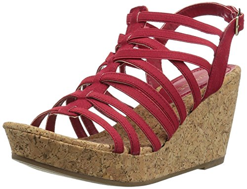 Rampage Women's Josie Platform Cork Wedge Sandal Red Stretch FCun6byw