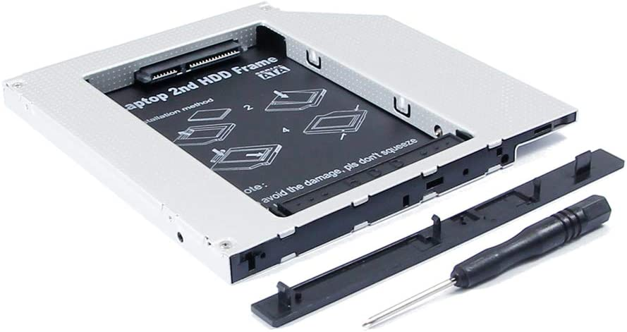 """New 2nd HDD SSD Hard Drive Caddy, for Apple MacBook Mac Book Late Mid-2007 A1181 13"""" White & Black Laptop Core 2 Duo 2.0 2.16 2.2, Second SATA Disk Enclosure Adapter, CD DVD SuperDrive Optical Bay"""