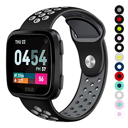 Compatible for Fitbit Versa | Soft Silicone Replacement Sport Band for New Fitbit Versa Smart Watch (Black/Gray, Small)