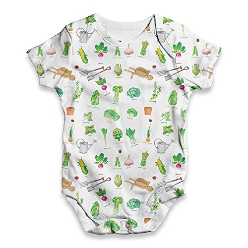 TWISTED ENVY All Over Print Baby Onesie Gardening Symbols and Elements White 6-12 Months